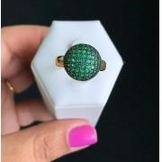 Brinco Redondo Almofadado Pedra Verde Esmeralda