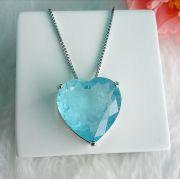 Colar Coração Com Pedra Azul Niágara Fusion