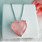 Colar Coração Com Pedra Morganita Fusion