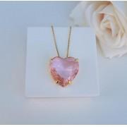 Colar Coração Rosa Incandescente