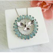 Colar Mandala Espírito Santo Com Pedra Azul