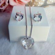 Conjunto Coração Com Pedra Cristal