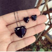 Conjunto Coração Com Pedra Ônix