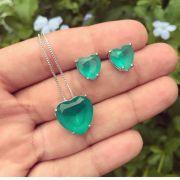 Conjunto Coração Com Pedra Verde Turmalina