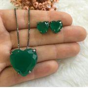 Conjunto Coração Pedra Verde Esmeralda