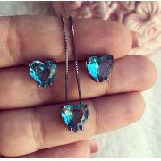 Conjunto Coração Pequeno Com Pedra Aqua Marine