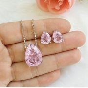 Conjunto Gota Com Pedra Quartzo Rosa Fusion