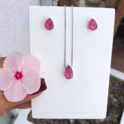 Conjunto Gota Oval Com Pedra Pink Leitoso