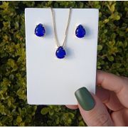 Conjunto Gota Pedra Azul Safira