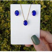 Conjunto Oval Pedra Azul Safira