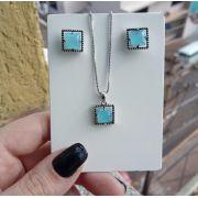 Conjunto Quadrado Envelhecido Pedra Azul