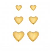 Kit de Brincos Corações Lisos