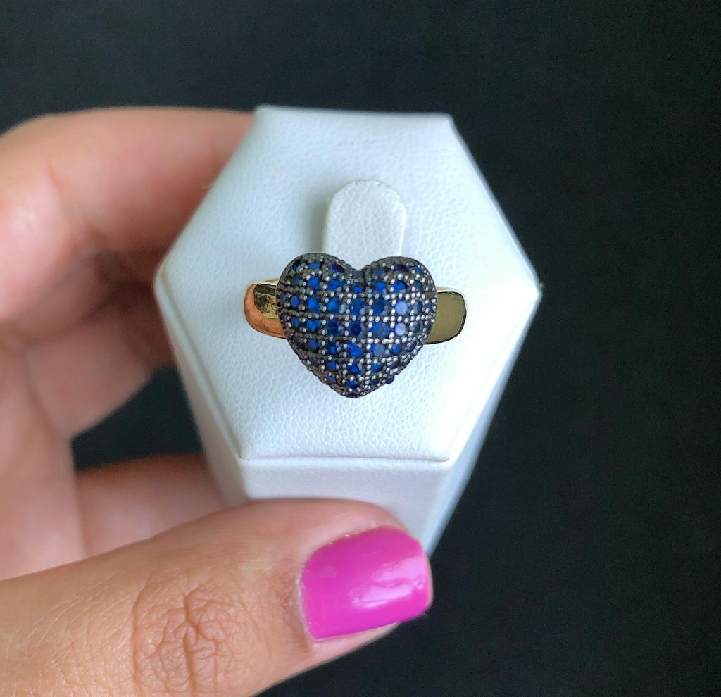 Anel Coração Almofadado Pedra Azul