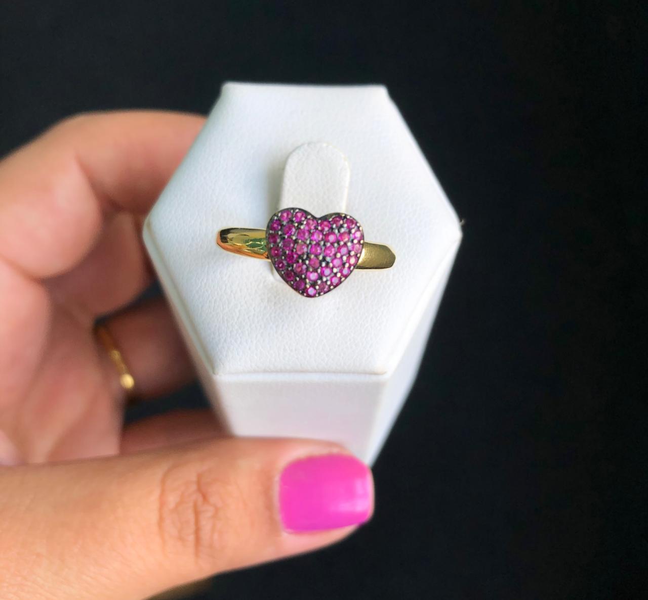 Anel Coração Almofadado Pedras Pink