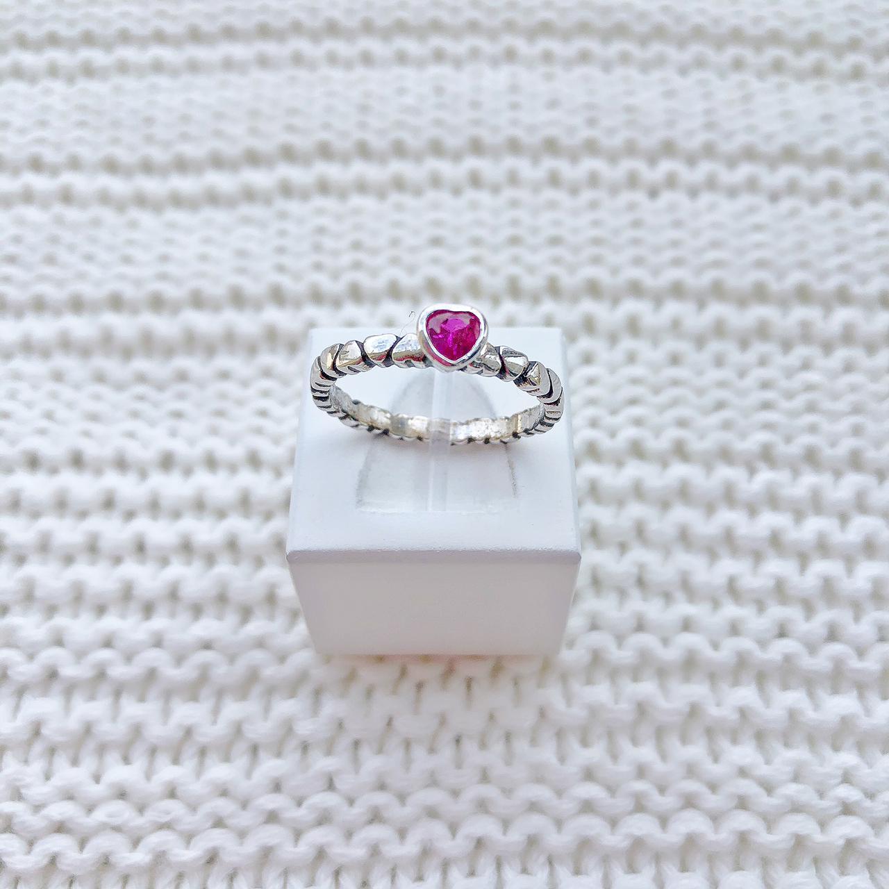 Anel Coração Pedra Pink