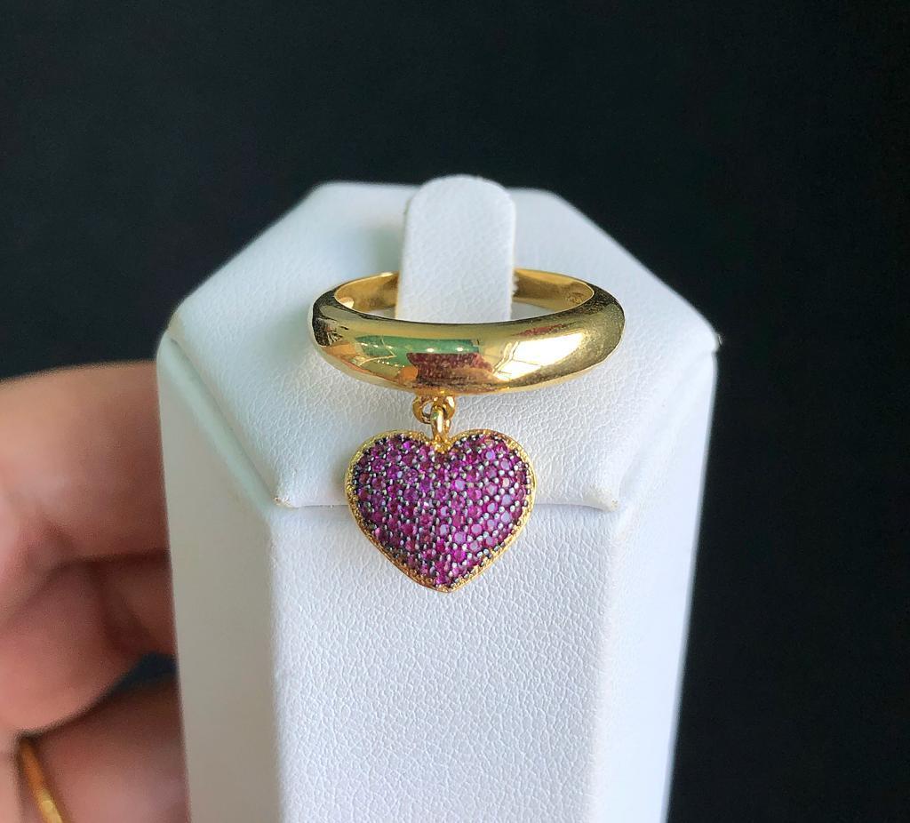 Anel Coração Pendurado Pedra Pink