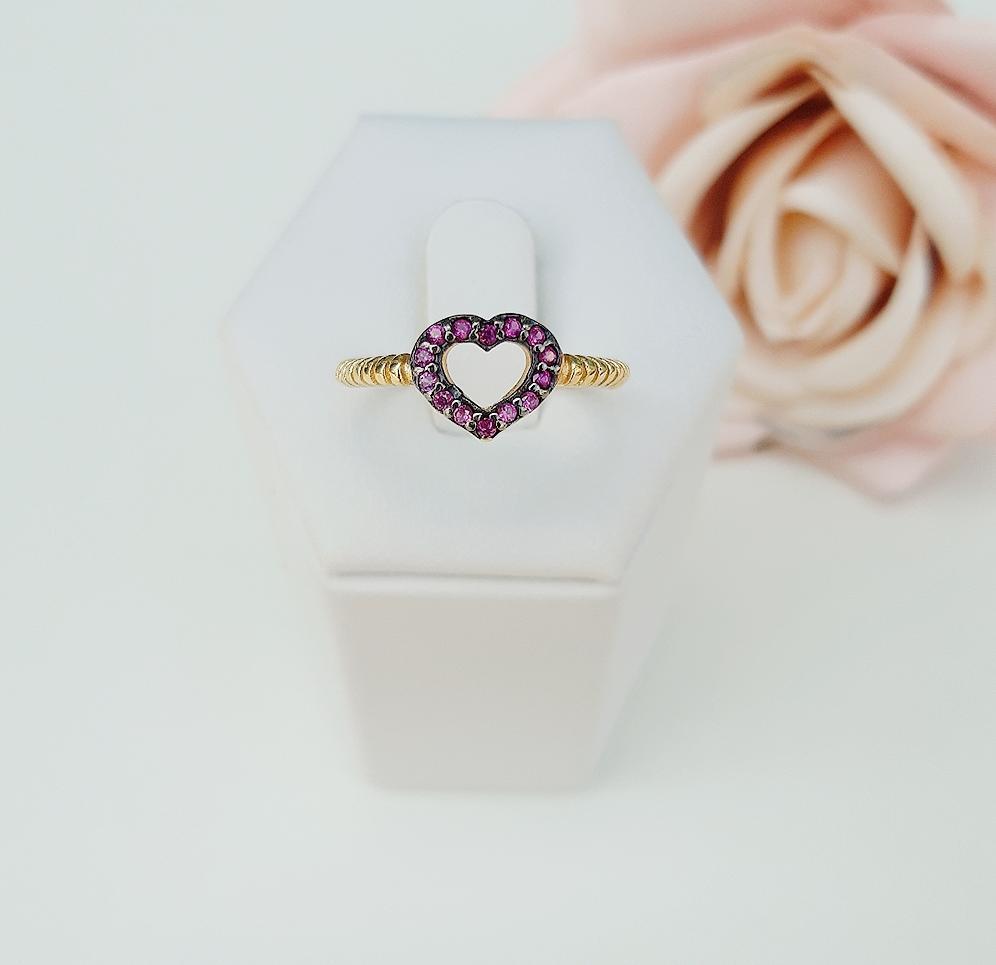 Anel Coração Vazado Pedra Pink
