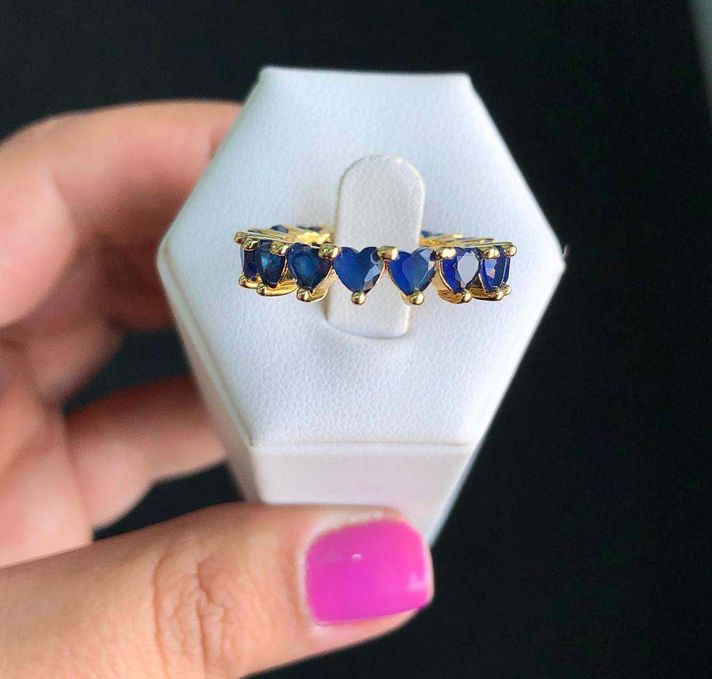 Anel Corações Pedra Azul Safira