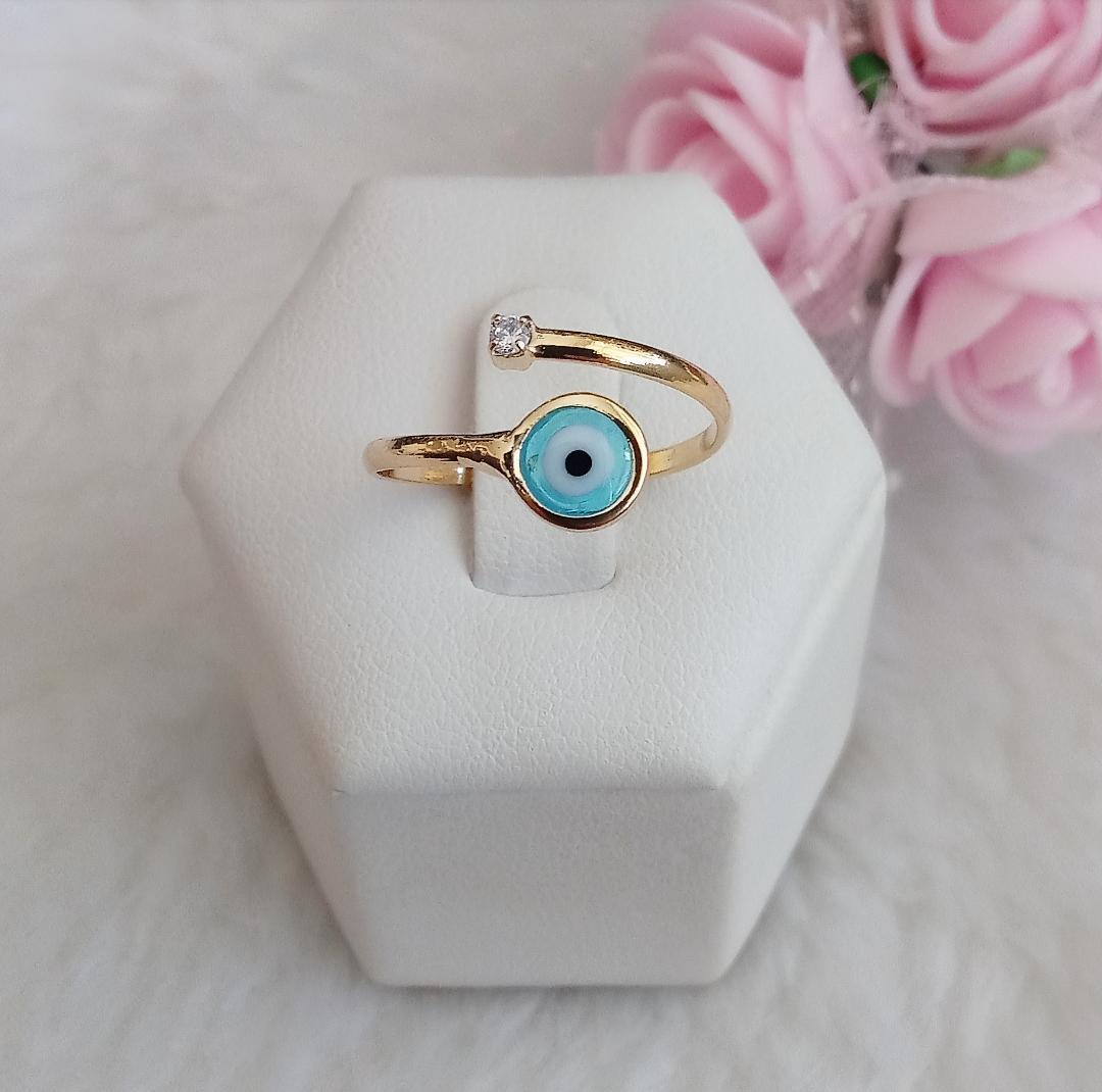 Anel Regulável Olho Grego E Zircônia