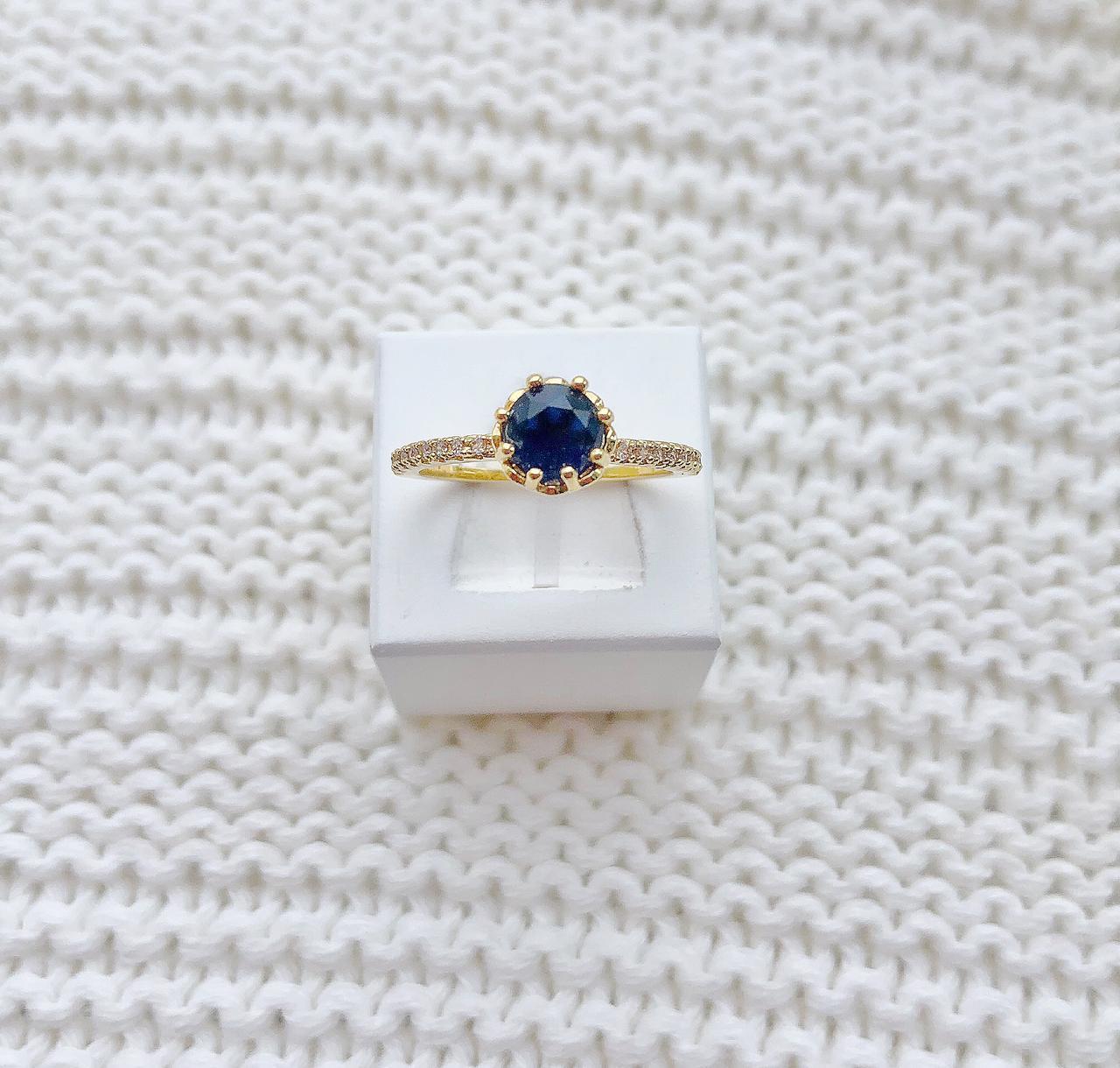 Anel Solitário Pedra Azul Safira