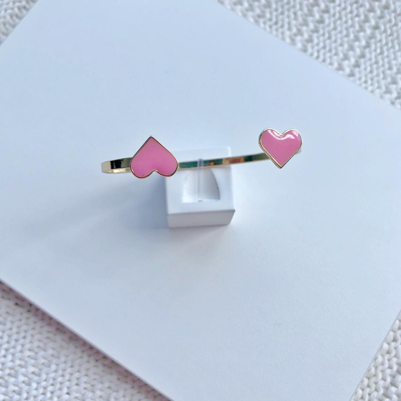 Bracelete Com Dois Corações Rosa