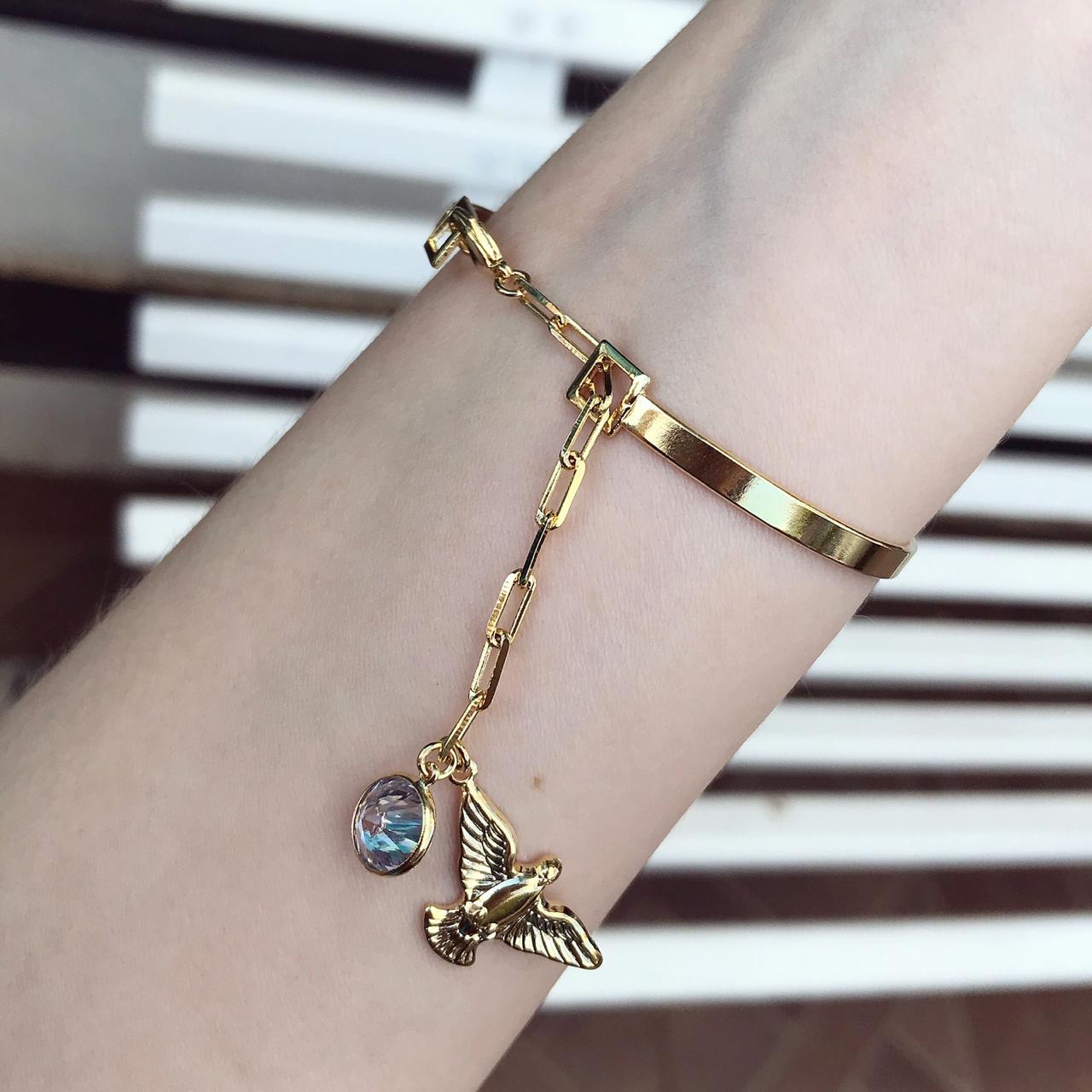 Bracelete Com Pendulo De Espirito Santo e Ponto De Luz