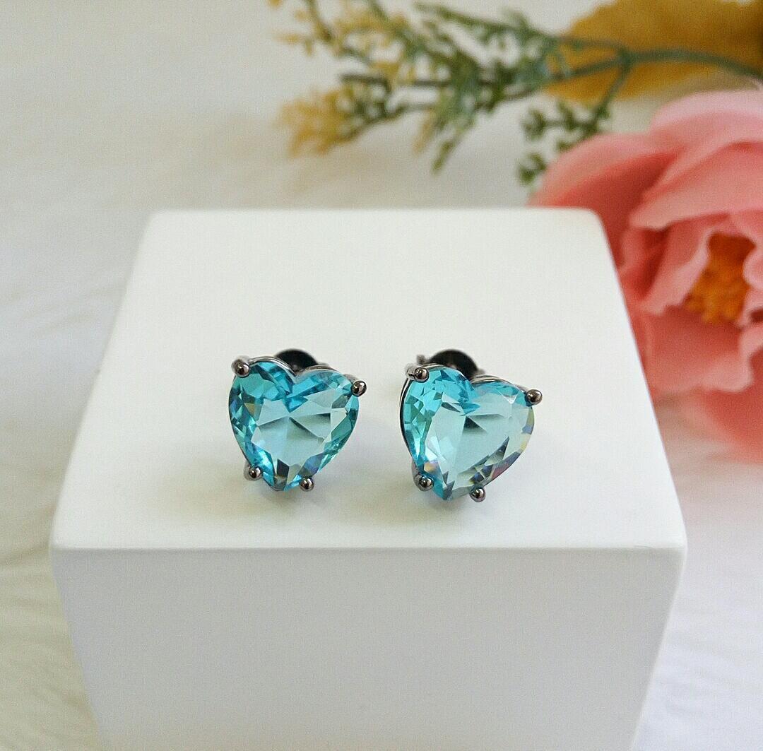 Brinco Coração Com Pedra Aquamarine