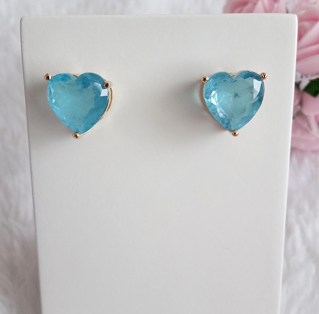 Brinco Coração Pedra Azul Niágara Fusion
