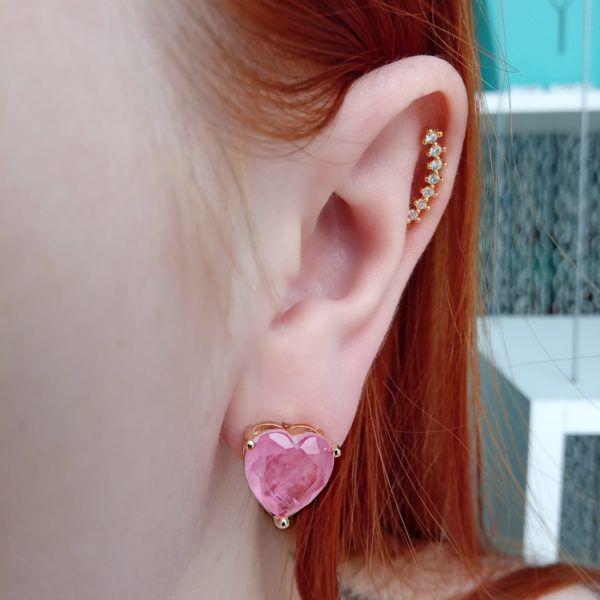 Brinco Coração Pedra Light Pink Fusion