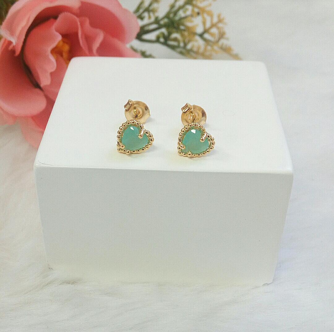 Brinco Coração Pequeno Com Pedra Verde Tiffany