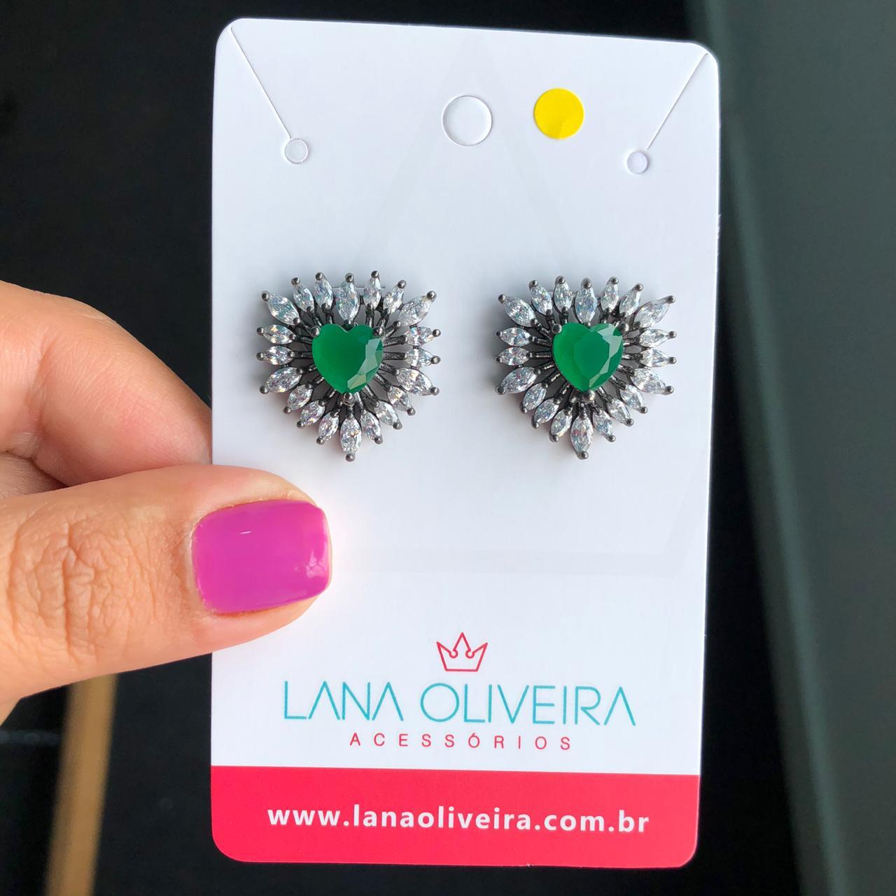 Brinco Coração Verde Esmeralda E Zircônia Cristal
