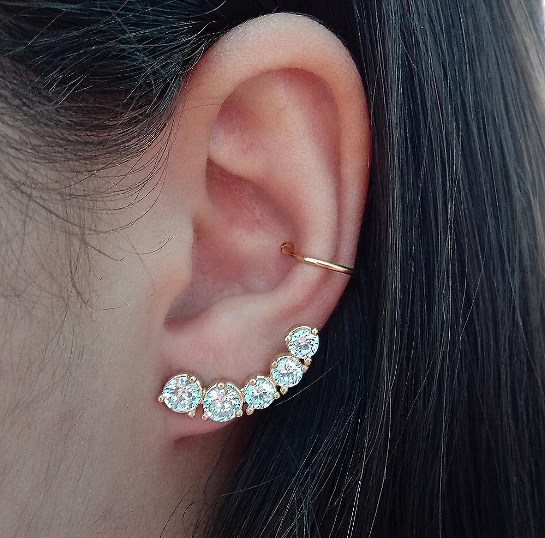 Brinco Ear Cuff Com Pedras Cristais