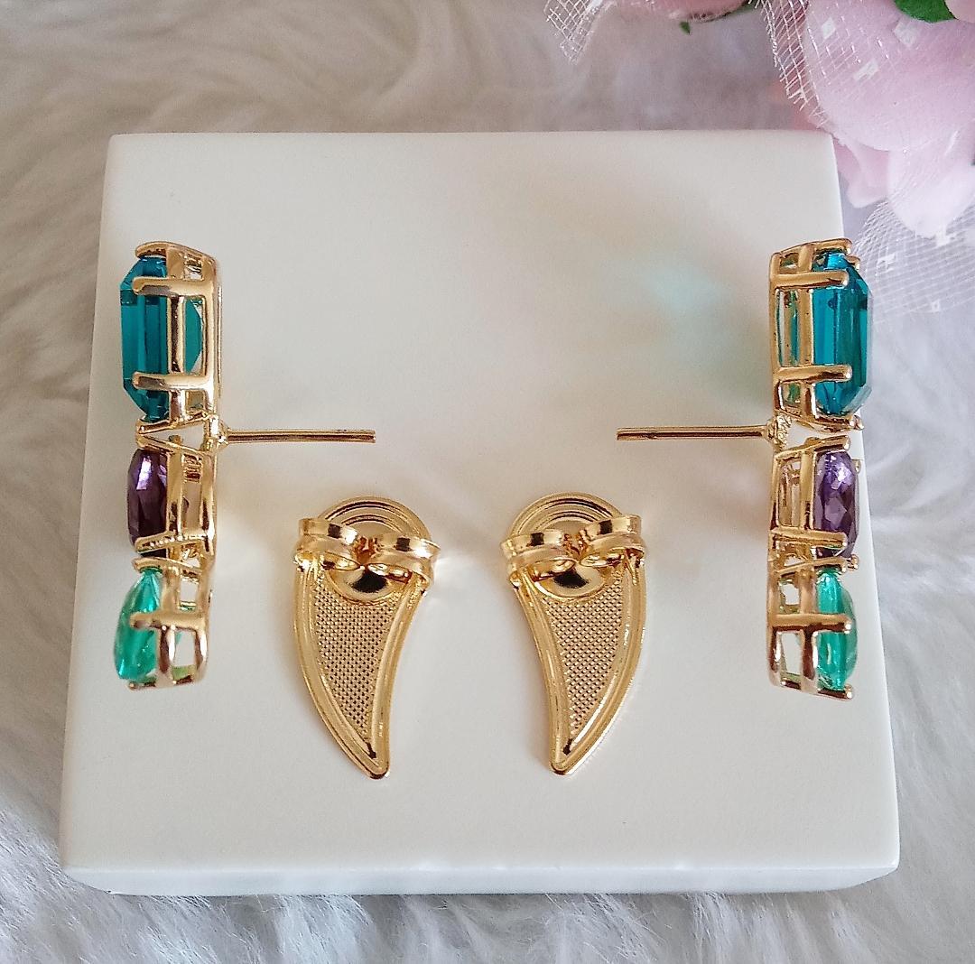 Brinco Ear Cuff Pedras AquaMarine, Ametista e Verde Incandescente