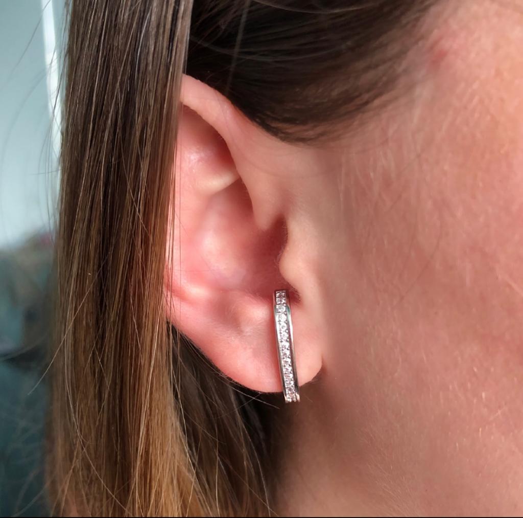 Brinco Ear Hook Com Zircônias