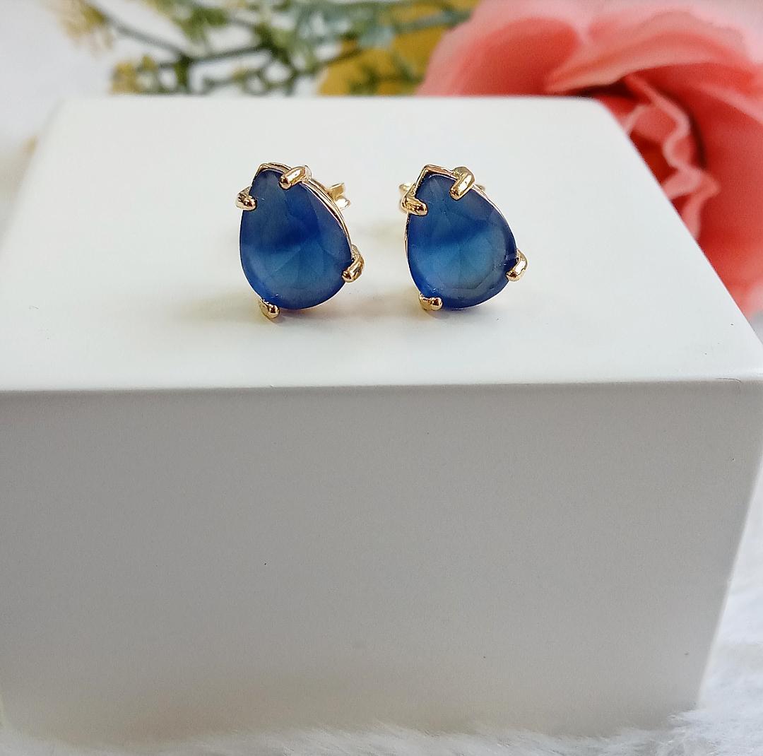 Brinco Gota Com Pedra Azul Safira