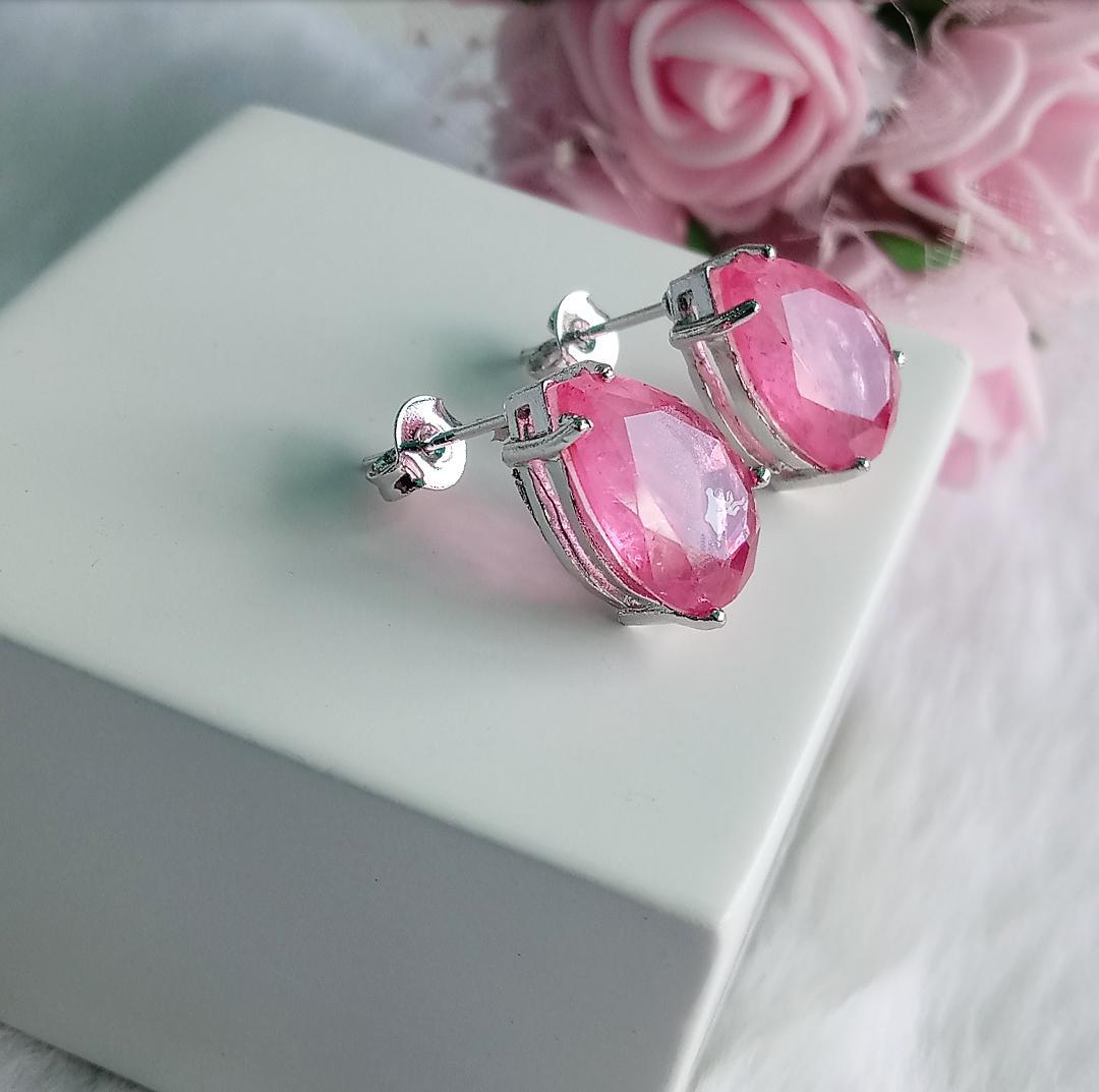 Brinco Gota Com Pedra Light Pink Fusion