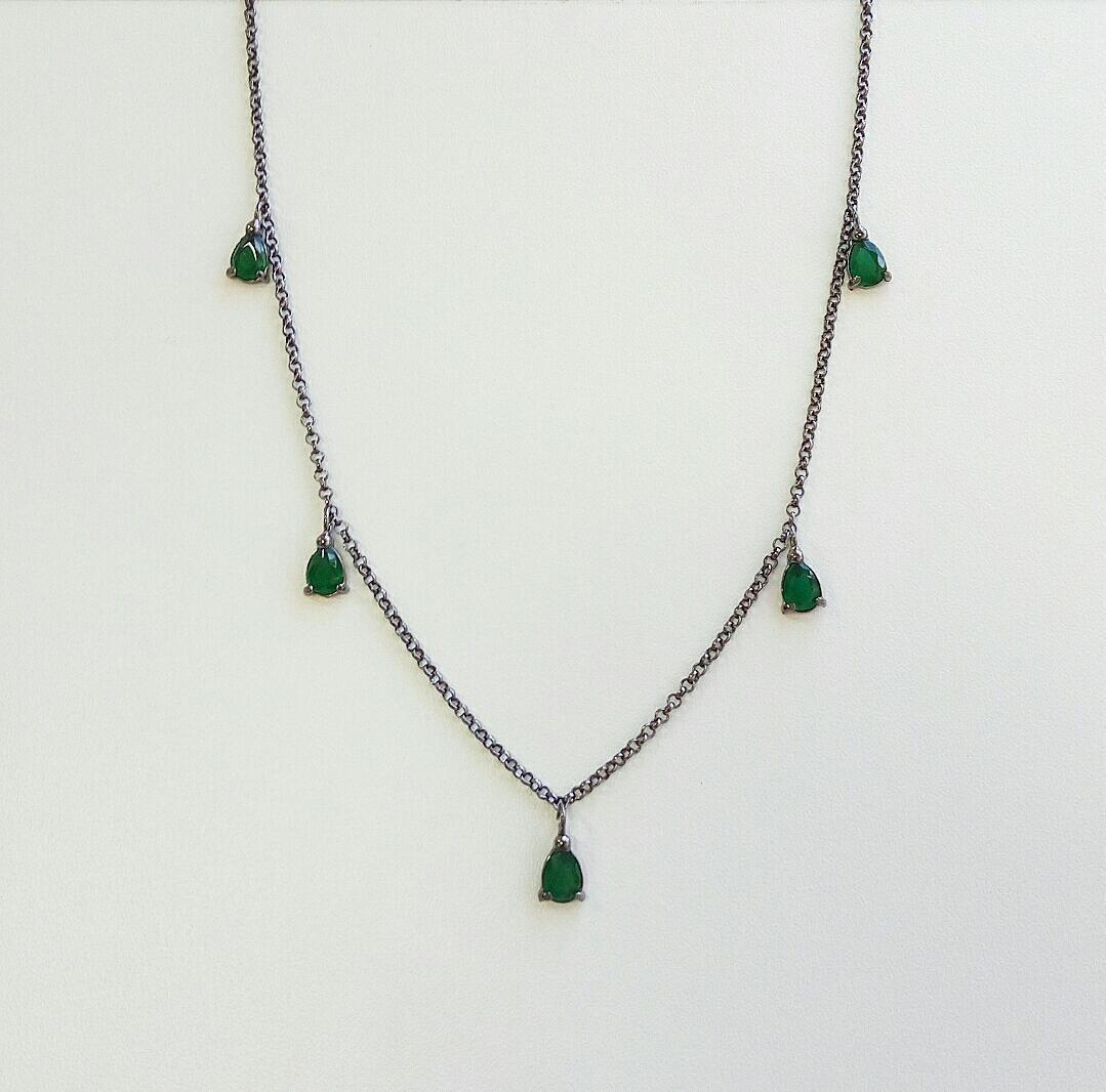 Choker Gotas Verde Esmeralda