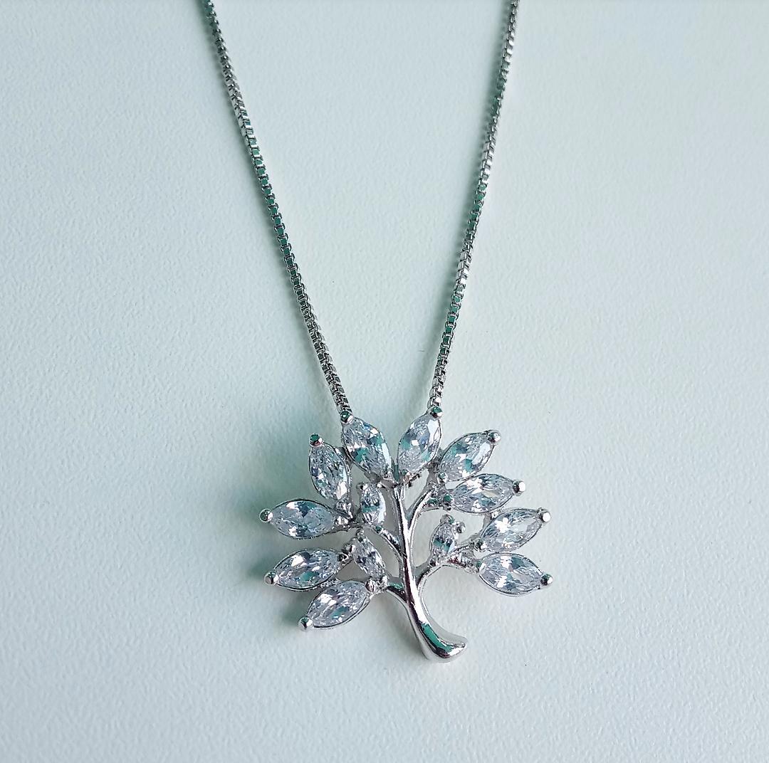 Colar Árvore Da Vida Com Pedra Cristal Navete