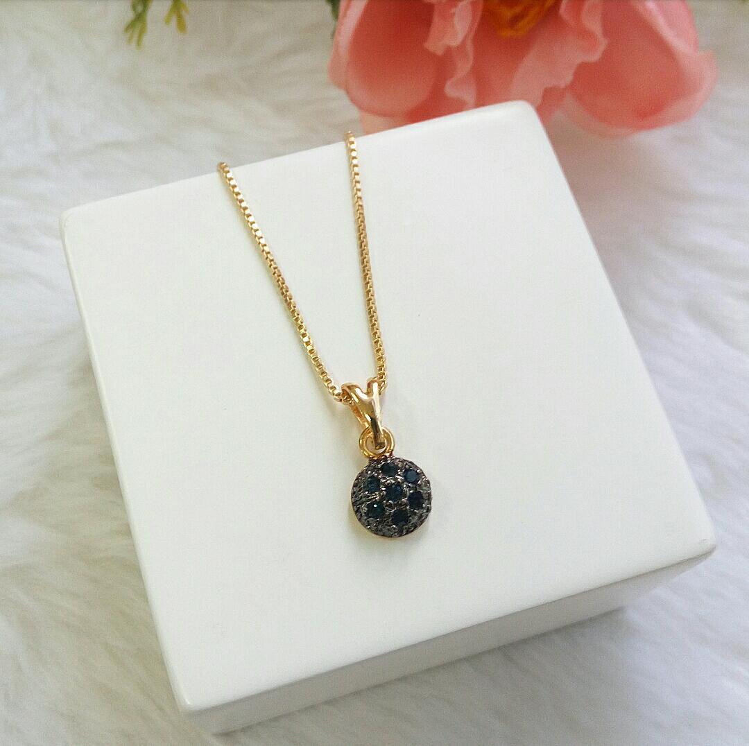 Colar Bolinha Com Detalhe Em Ródio Negro E Pedras Azuis