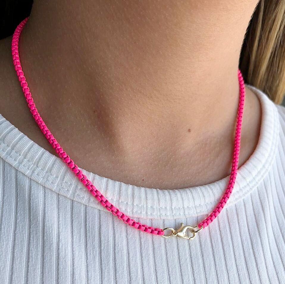 Colar Colors Veneziana Fina Rosa Neon