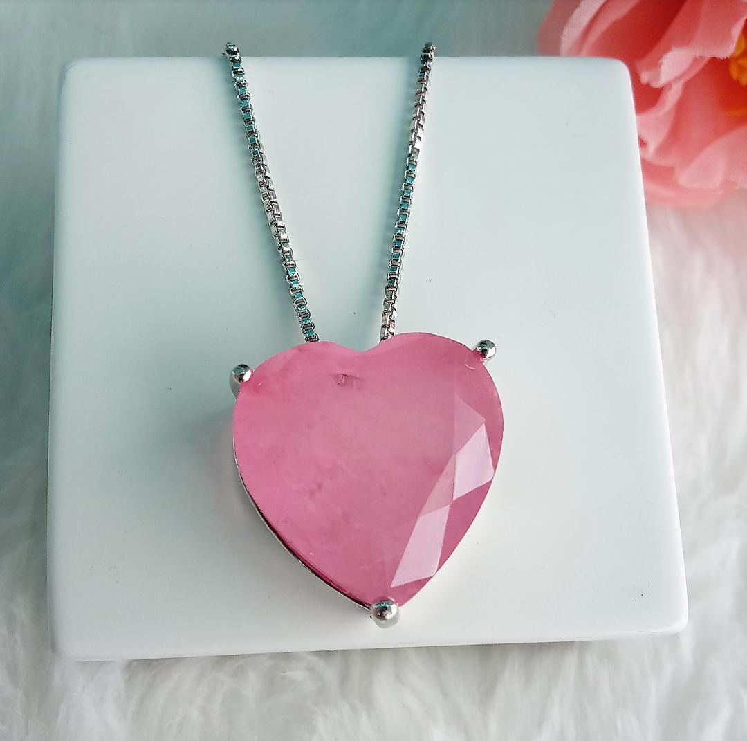 Colar Coração Com Pedra Light Pink Fusion