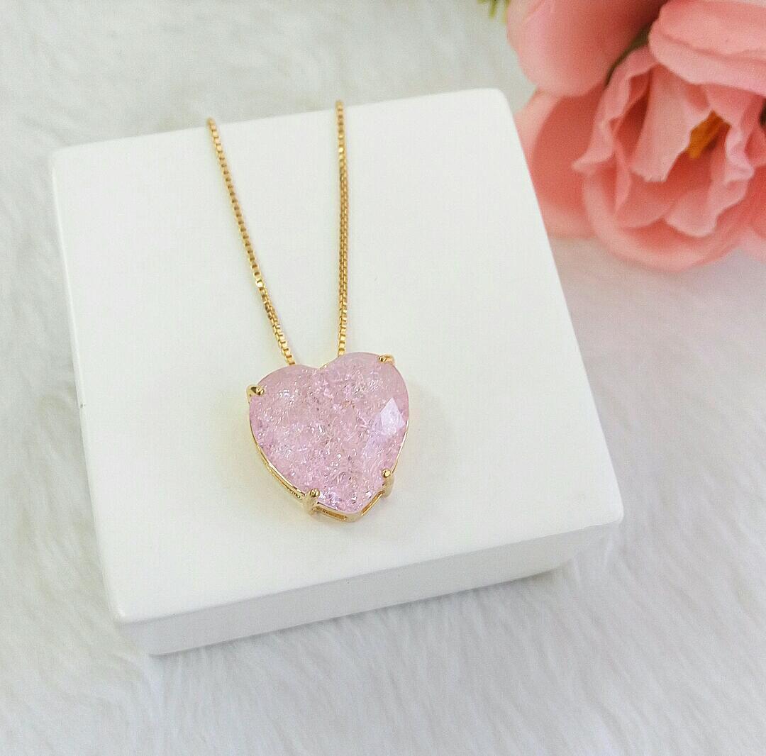 Colar Coração Com Pedra Rosa Fusion
