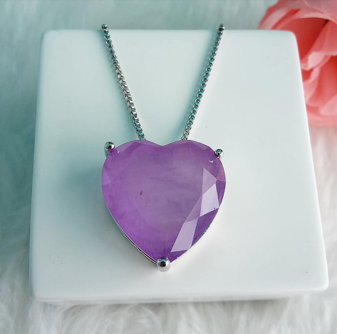 Colar Coração Com Pedra Tanzanita Fusion