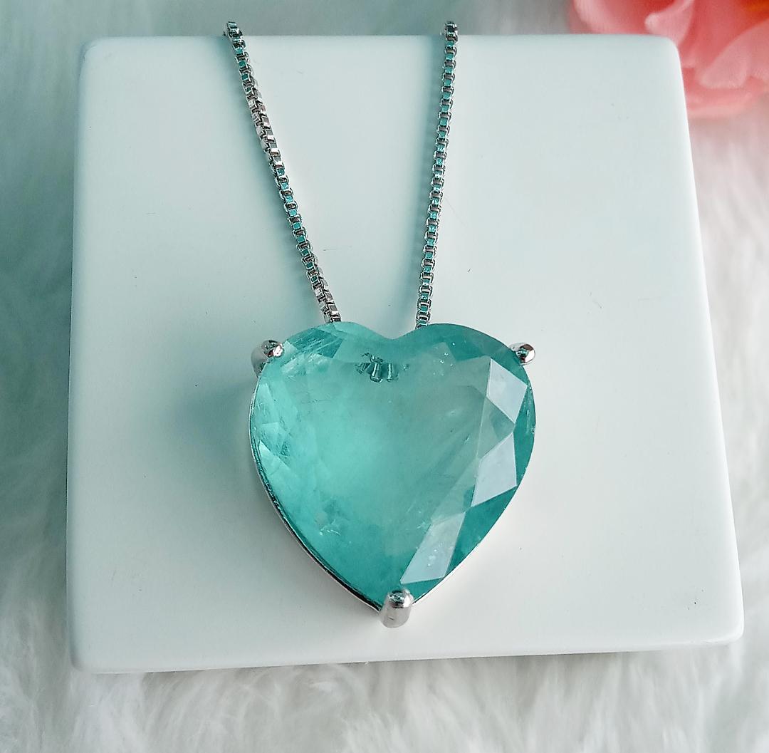 Colar Coração Com Pedra Turmalina Fusion