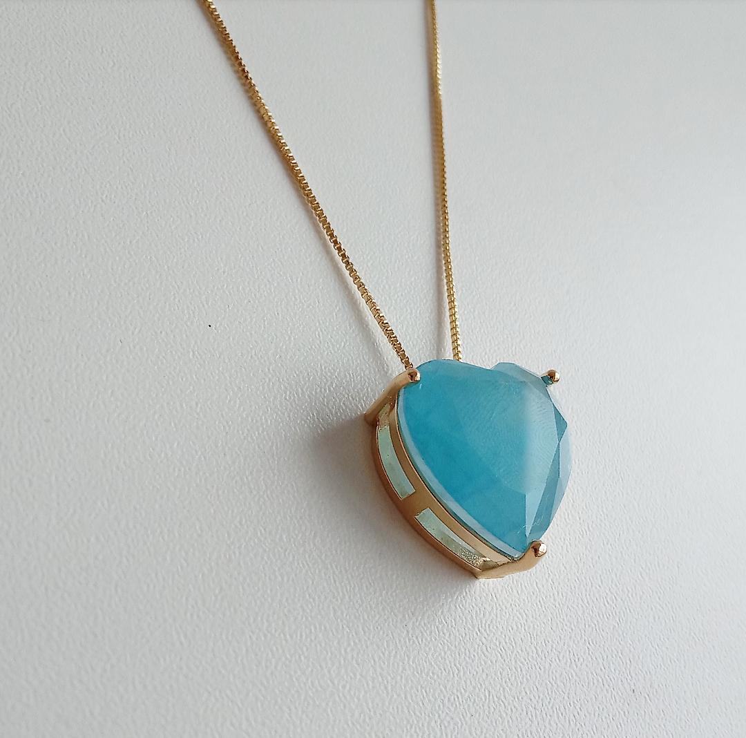 Colar Coração Pedra Azul Niágara Fusion