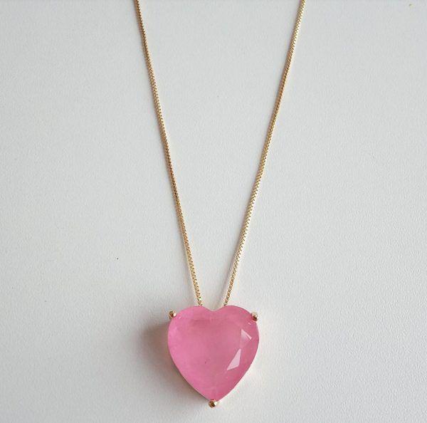Colar Coração  Pedra Light Pink Fusion