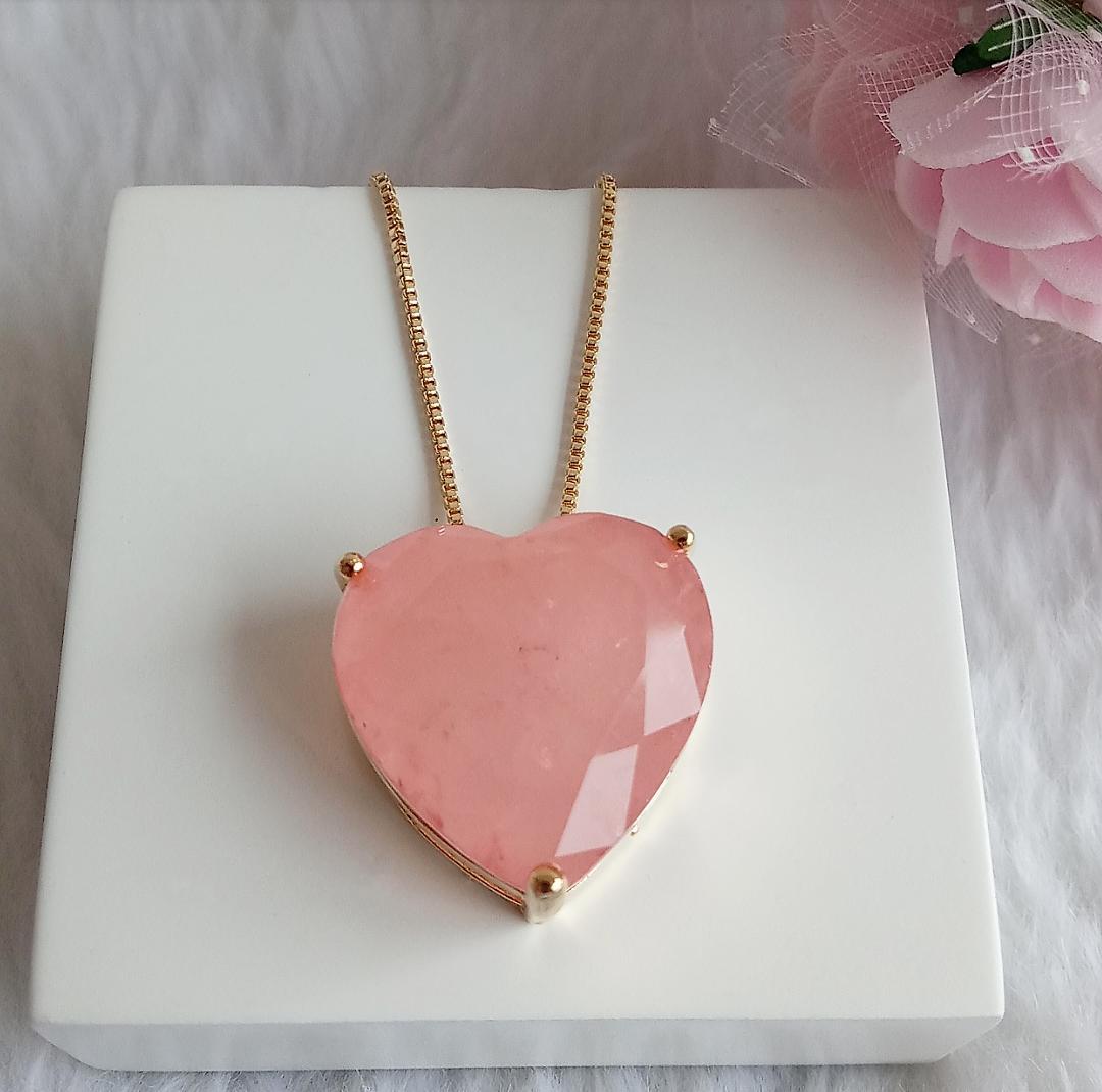 Colar Coração Pedra Morganita Fusion