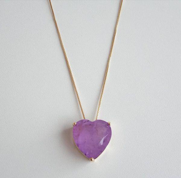 Colar Coração Pedra Tanzanita Fusion