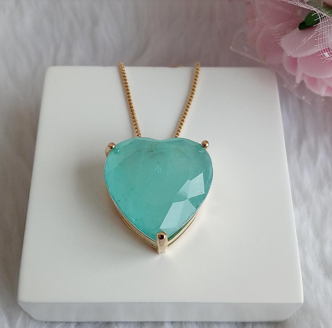 Colar Coração  Pedra Turmalina Fusion
