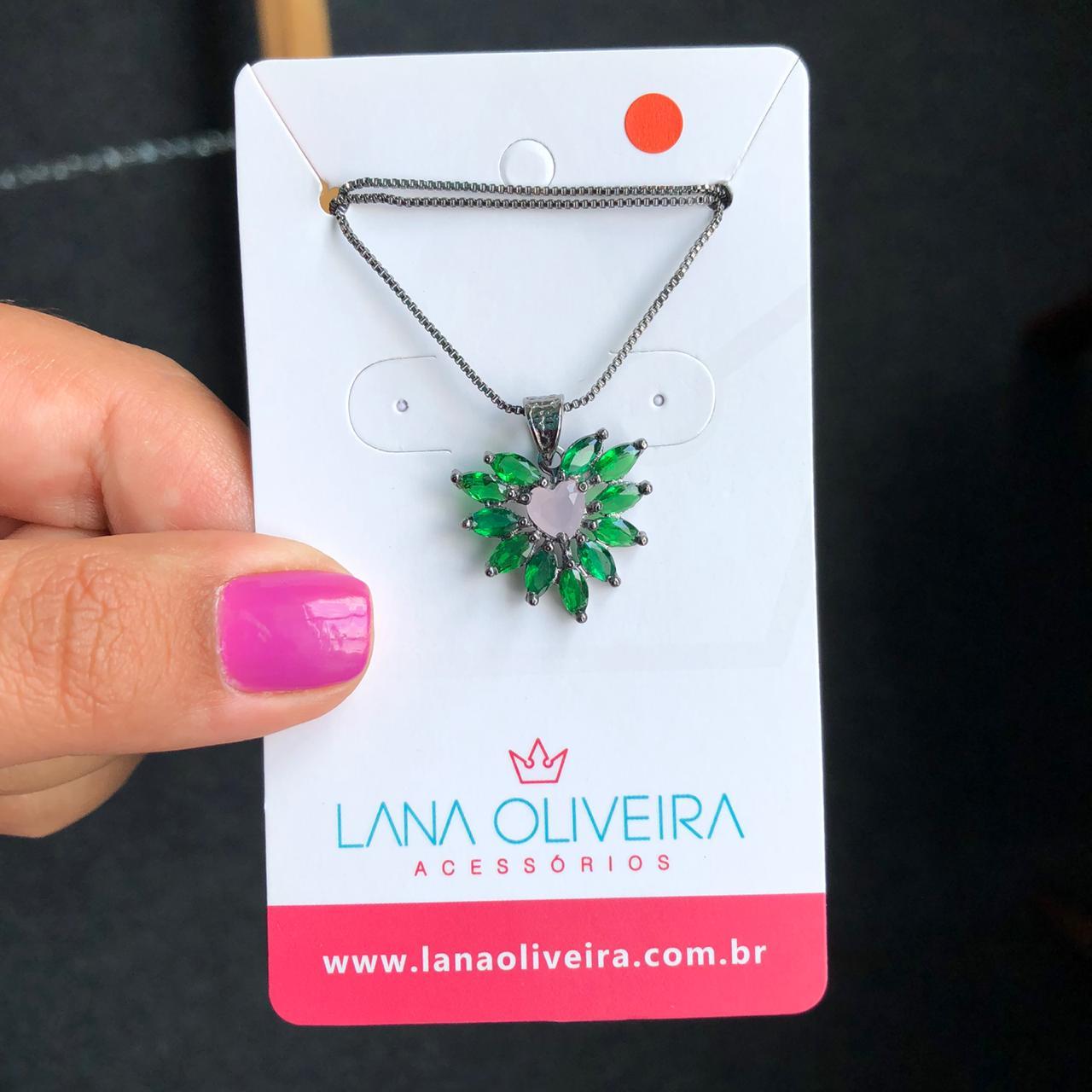 Colar Coração Pedras Verde Esmeralda E Rosa Leitoso